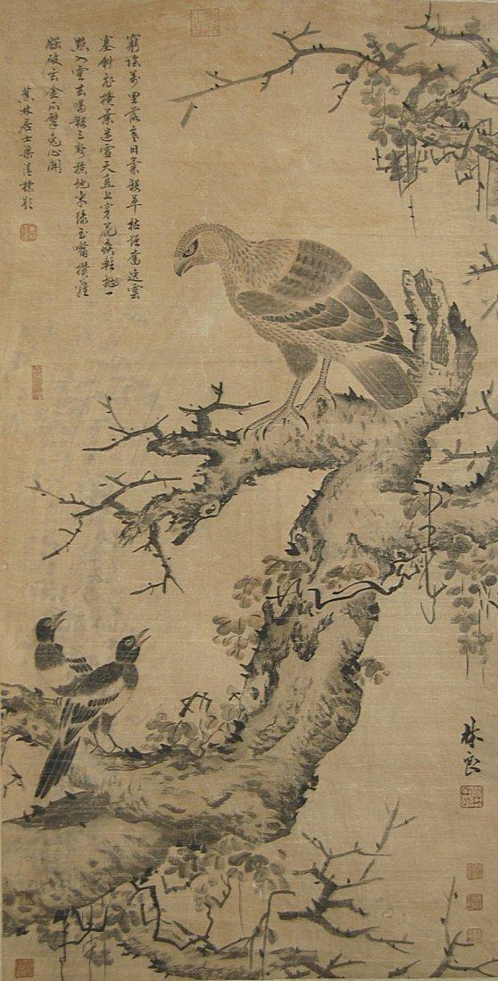 53: Lin Liang Ming Dynasty  Hawk and Magpies