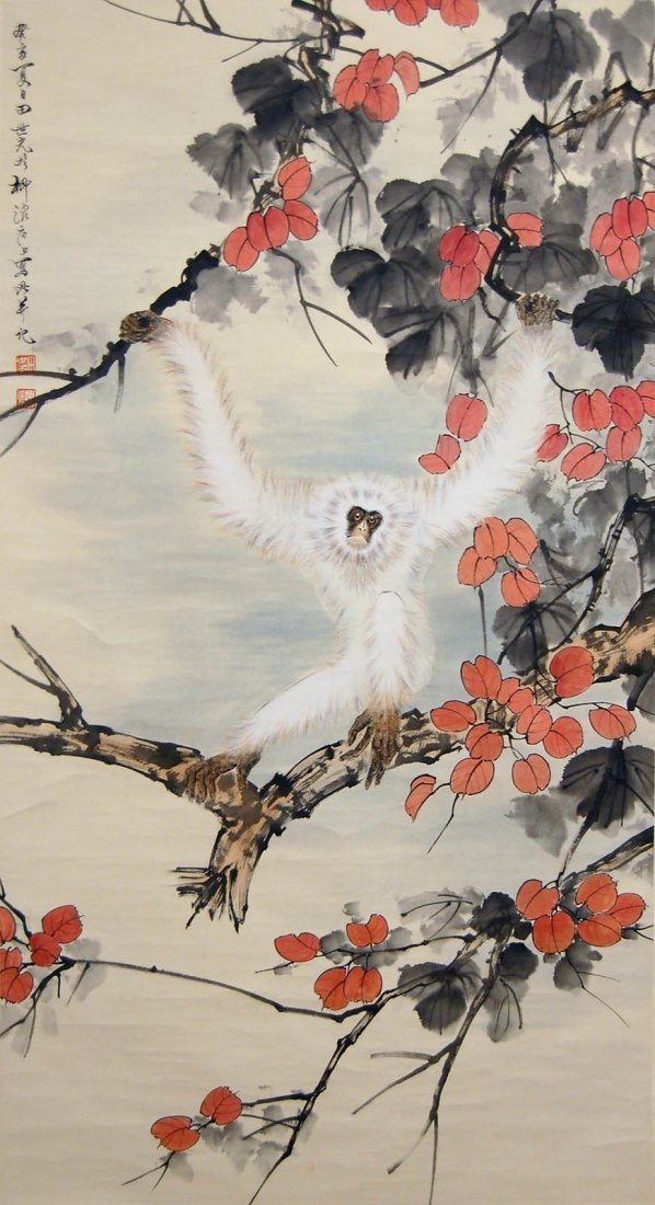 5: Tian Shiguang  Red Leaves and White Monkey