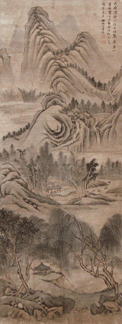10: Wang Xuehao - Qing Dynasty - Autumn Mountain Ridges
