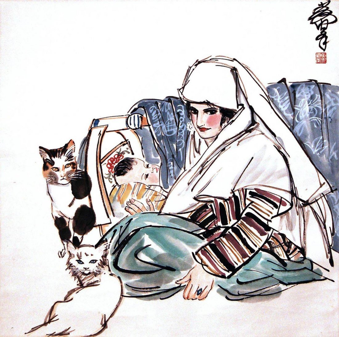 15: Huang Zhou - Uighur Mother and Child with Cats