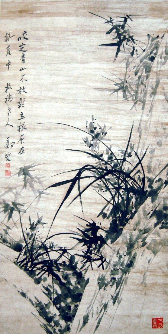20: Zheng Xie (Banqiao) - Qing Dynasty - Cliff Orchid a