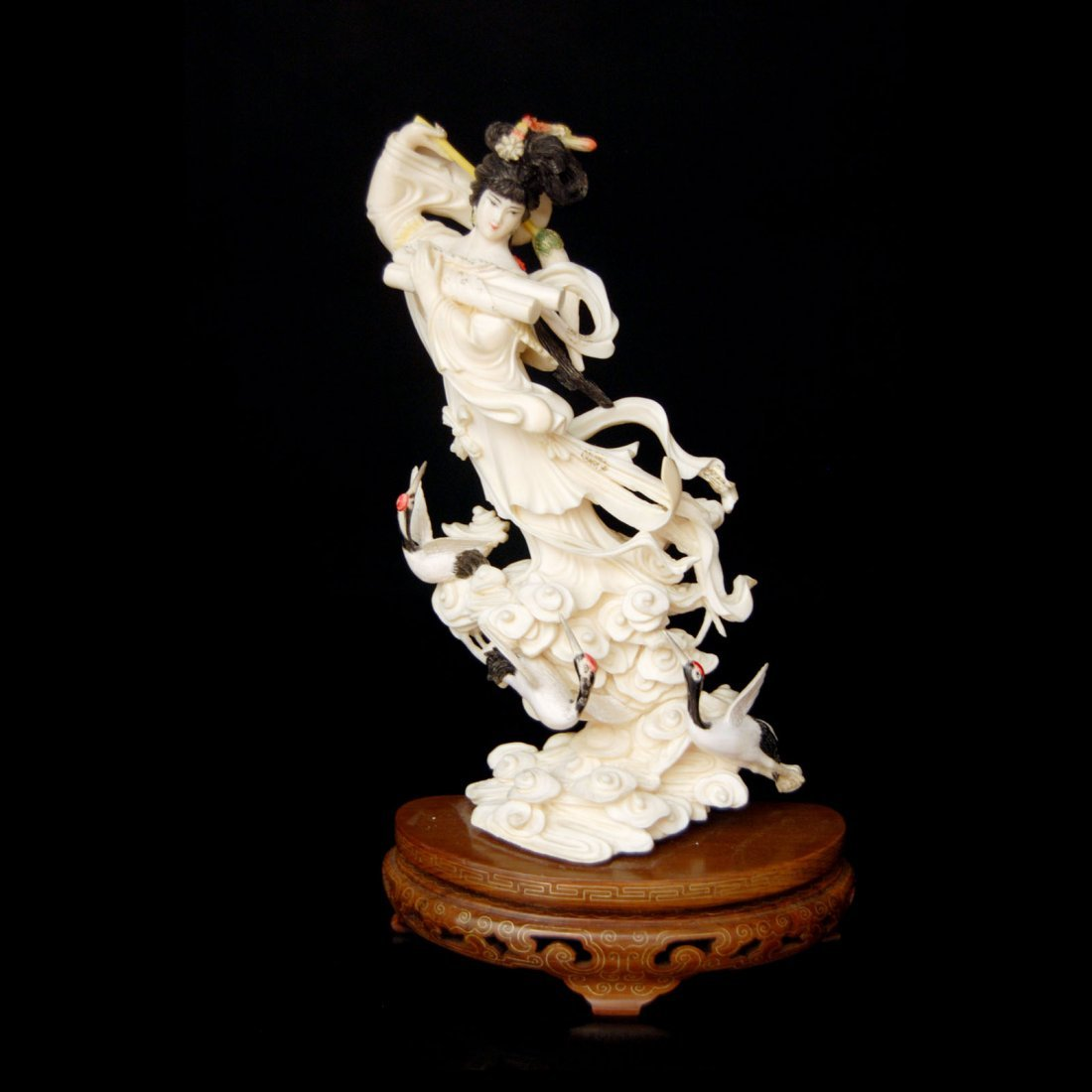 338: An Ivory Carving of a Flying Fairy Maiden