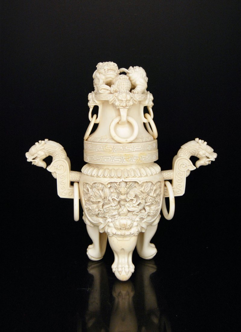A Finely Carved Ivory Tripod Censer