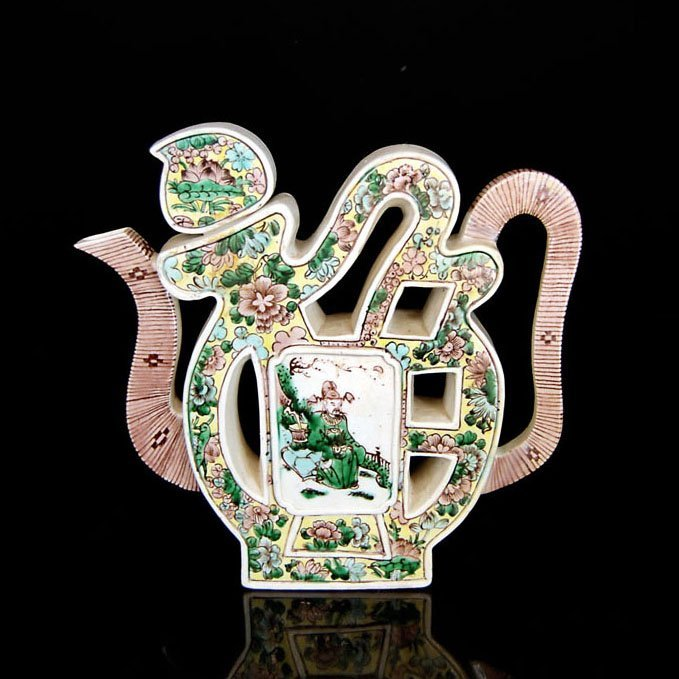 A Sancai Tri-Color Glazed Fu Character-Form Ewer with C