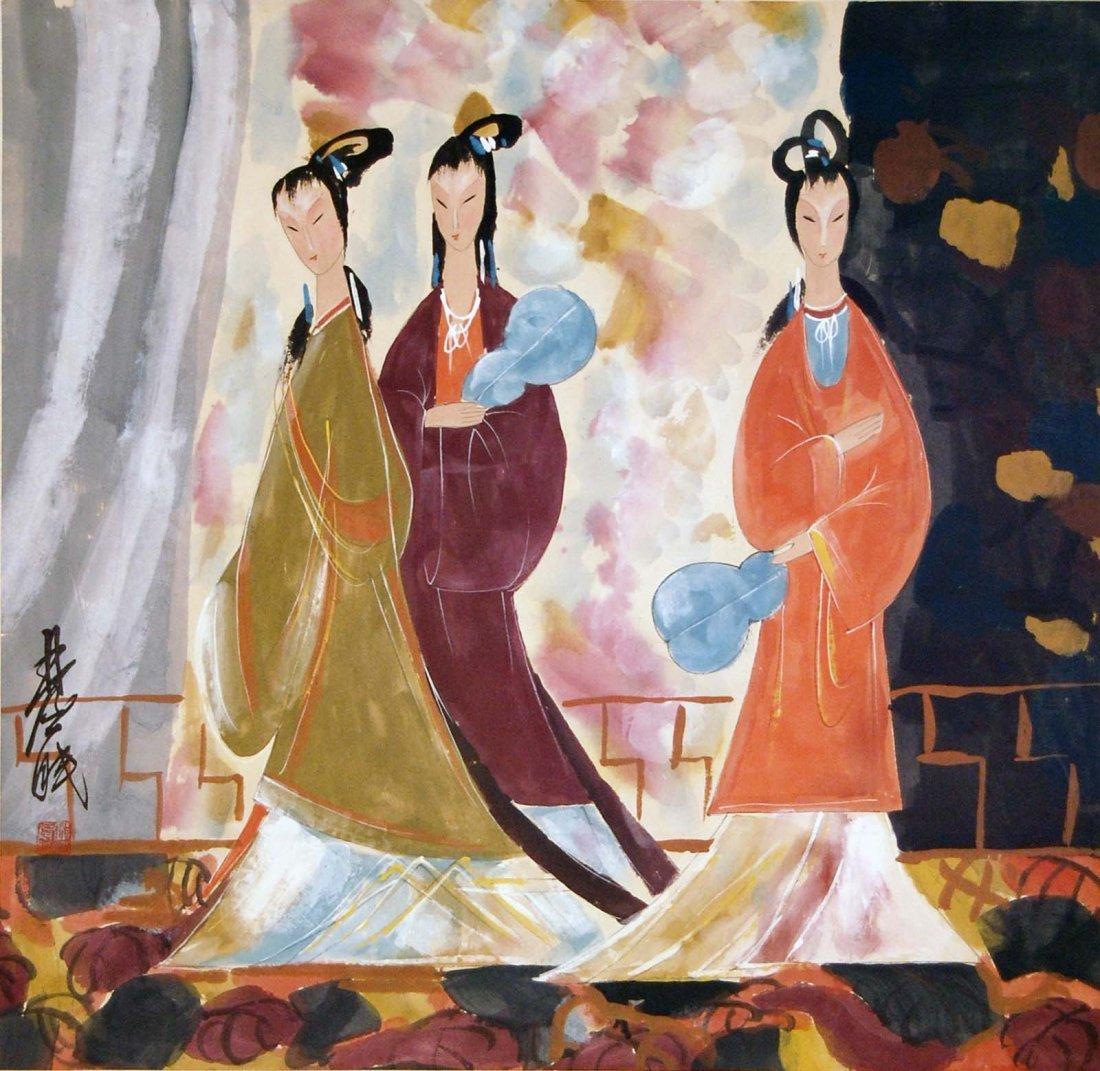 Lin Fengmian  Three Beauties