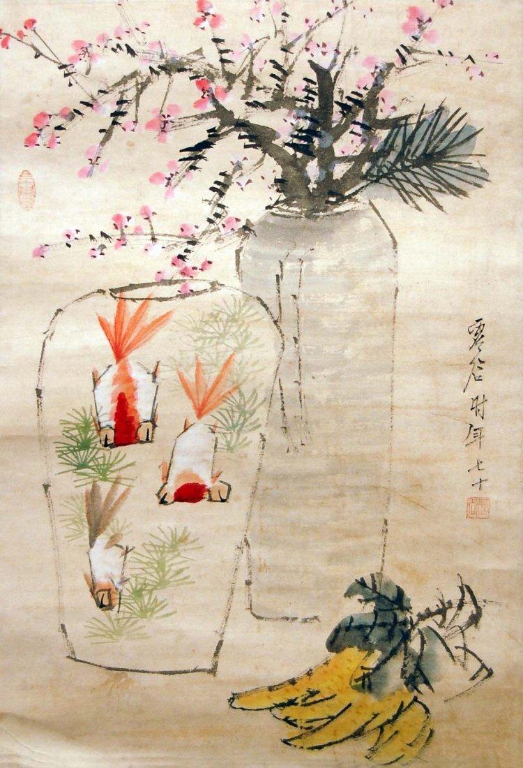 Xu Gu  Qing Dynasty  Gold Fish, Plum Blossom and Foshou
