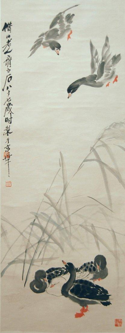 Qi Baishi  Mallard Ducks by the River Reeds
