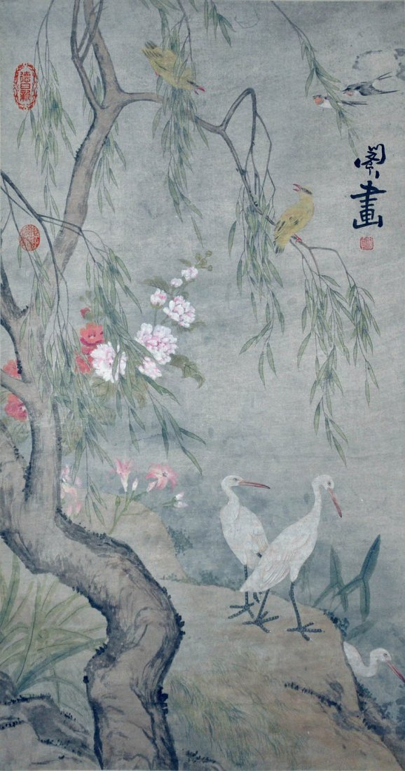 Min Zhen Qing Dynasty Egrets under Willow