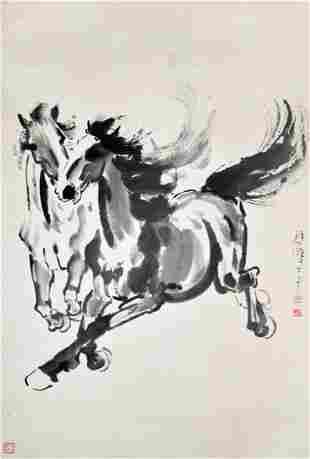 Xu Beihong Two Galloping Stallion