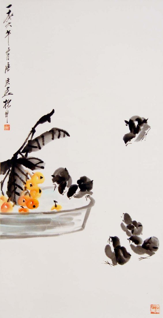 Tang Yun  Flock of Chicks with Pipa