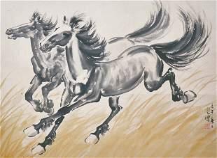 Xu Beihong Two Racing Stallion