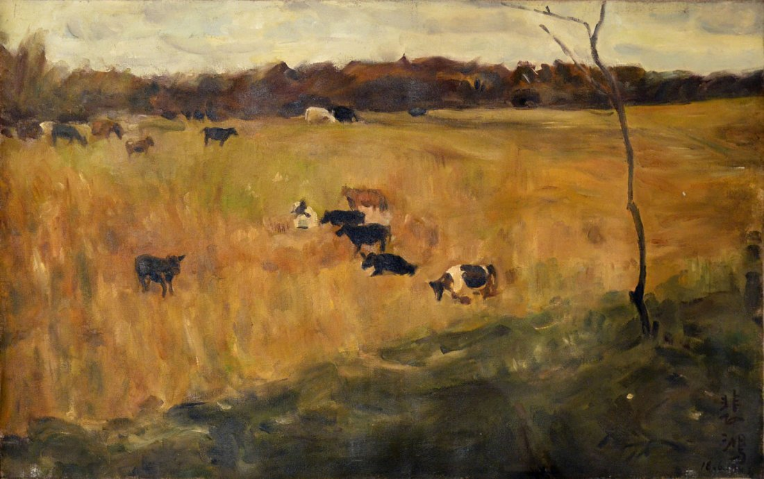 Xu Beihong  Grazing Pasture Scenery  Oil on Canvas