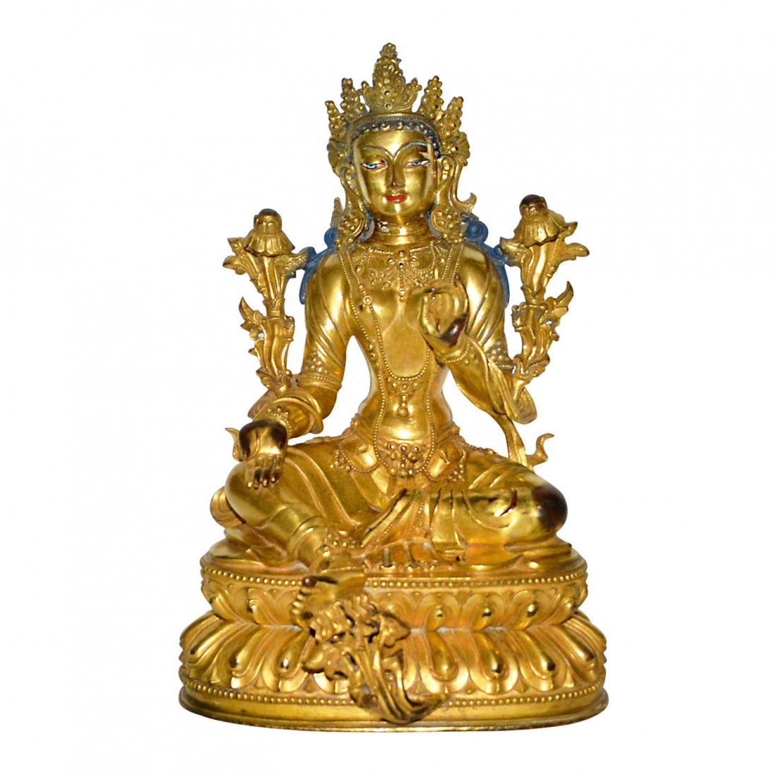 A Rare Gilt-Bronze and Pigment Painted Figure of Tara