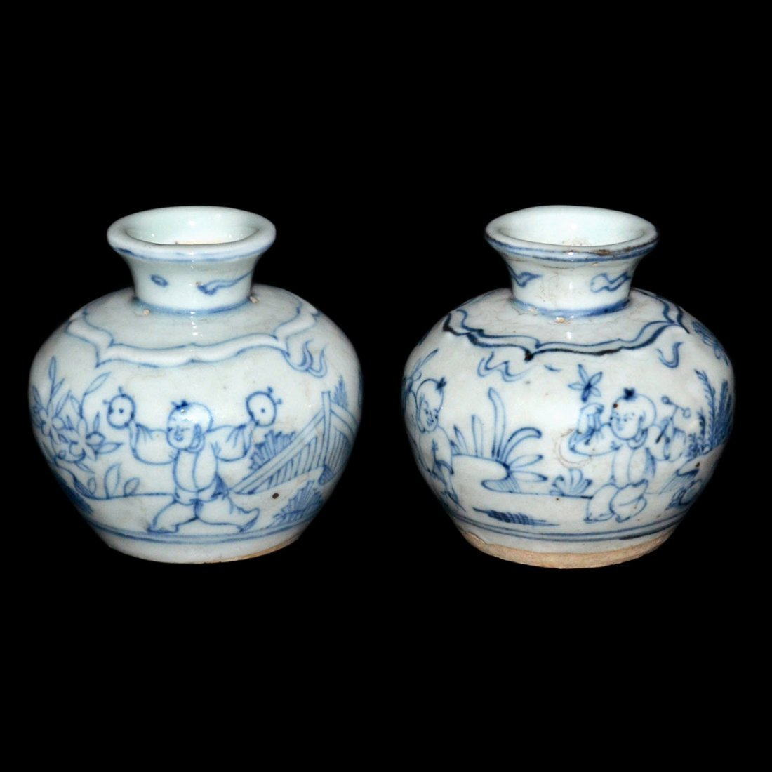Ming, A Pair of Fine Blue and White Children at Play