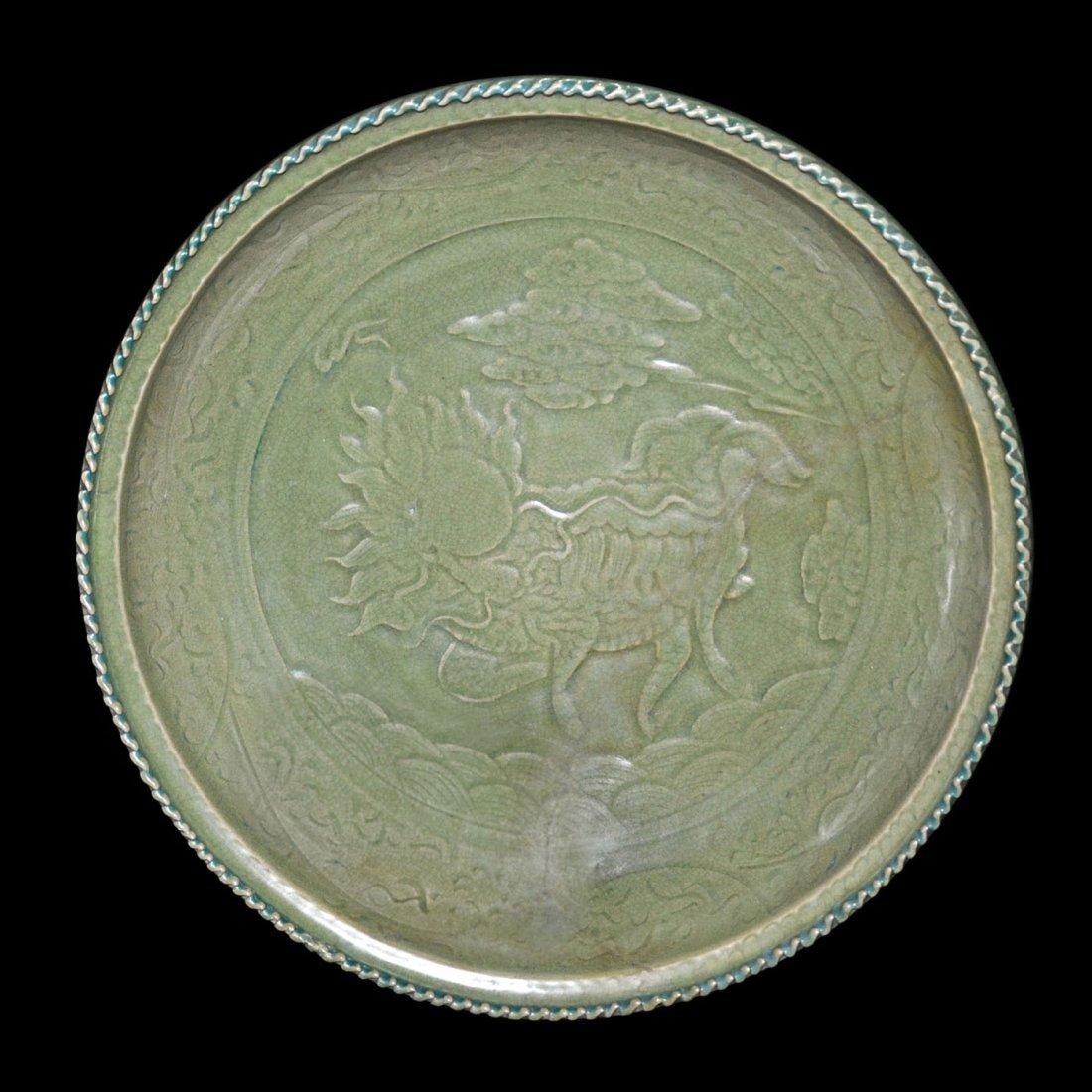 Yuan, A Large Longquan Celadon Molded Qilin Dish
