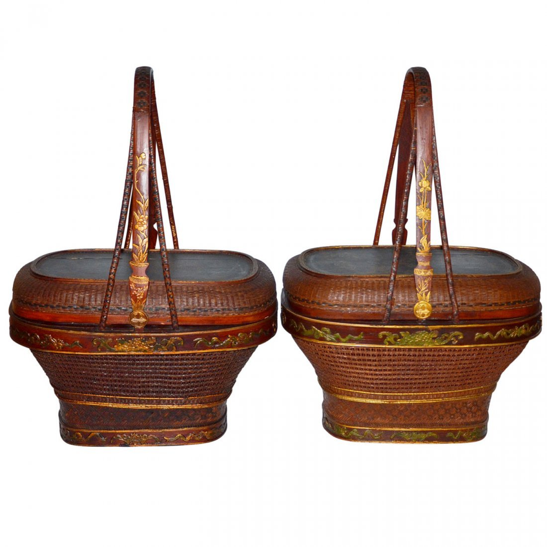 Qing, A Pair of Gilt Painted Bamboo Weaved Basket with