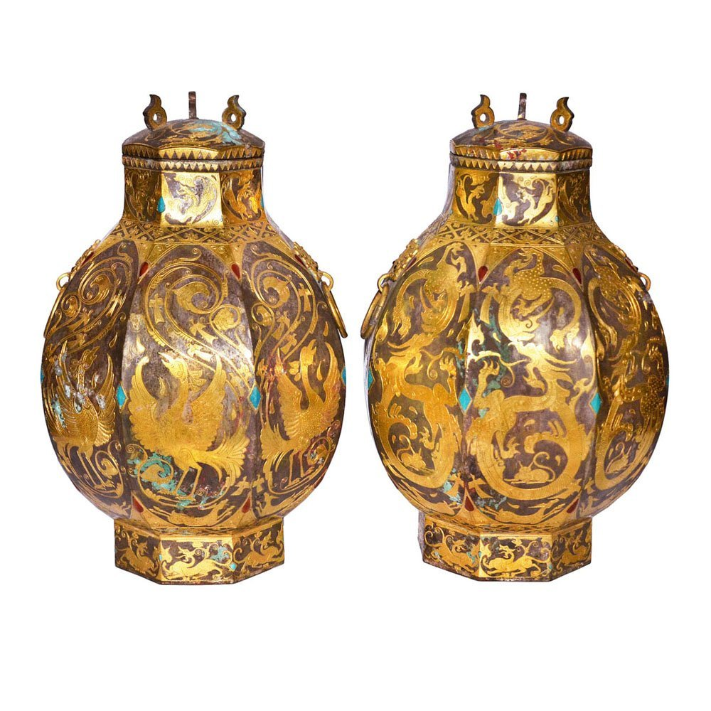 Tang, A Pair of Fine and Rare Hexagonal Wine Vessel,