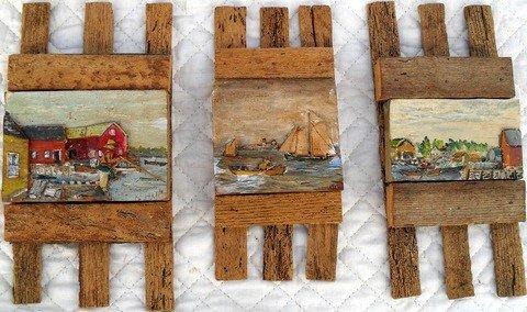 4: Three Hand Carved Portland Harbor Dioramas