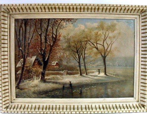 20: Primitive O/C of Winter Skating Scene