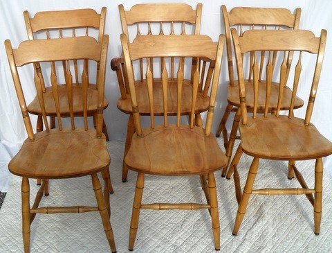 Six Bent Bros Arrow back Maple Dining Chairs