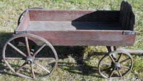 4: Rare Child's 1880s Wooden Pull Wagon