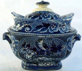 6: Blue Staffordshire Paneled Bird Sugar Bowl
