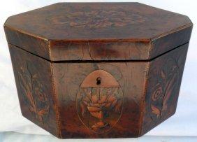 7: George III Yew Wood Inlaid Tea Caddy