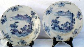 """10: 18th C English Orientalist Delft 9"""" Plates"""