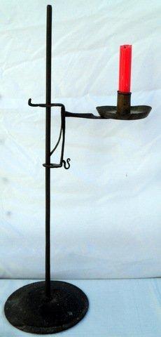 19th C Wrought Iron Candle Jack