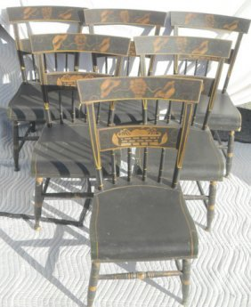21: 6 New Eng. Stenciled  Hitchcock Chairs