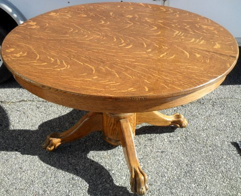 "48"" Tiger Oak Claw Foot Dining Table"