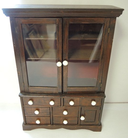Charming Child's Step Back Dish Cupboard