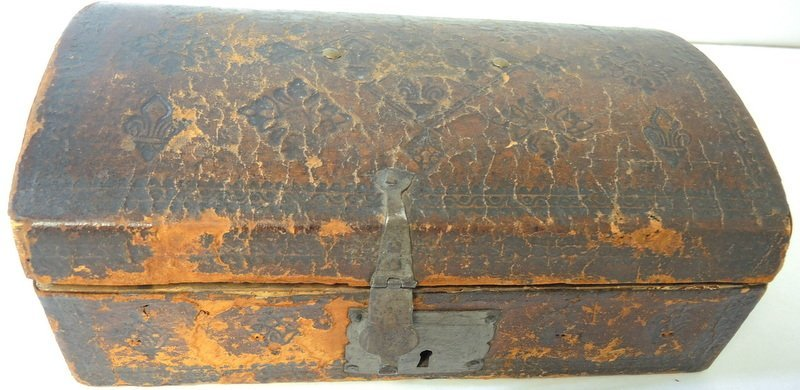 18th Century Embossed Leather Dome Top Document Box