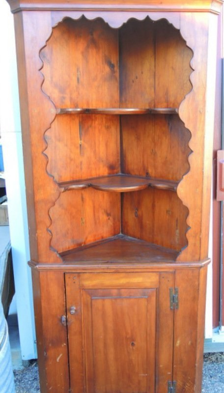 Colonial Revival Bench Constructed Pine Corner Cabinet