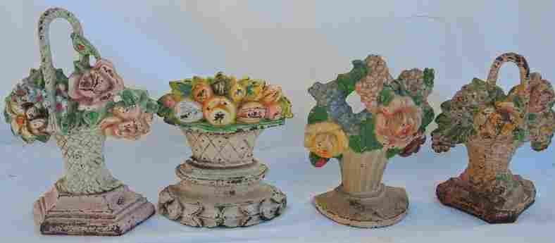 Lot of Four Vintage Cast Iron Floral Basket Doorstops