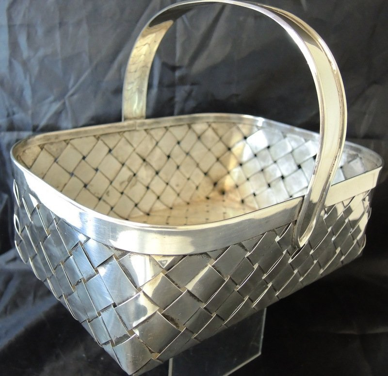 Cartier Sterling Silver Hand Made Table Basket