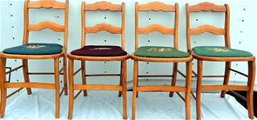 Set of Four Country Cottage Side Chairs