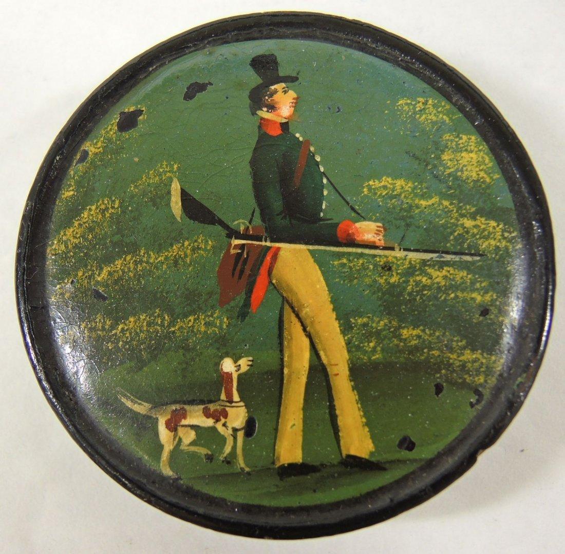 1820s Paper Machie Snuff Box - Hand Painted Scene
