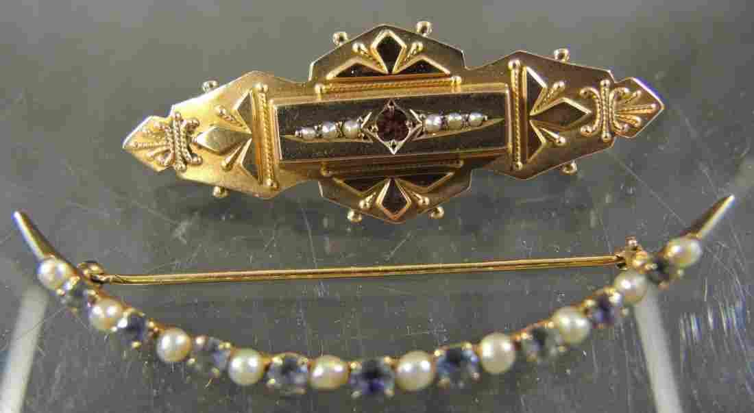 Two Victorian & Art Deco Gold Bar Pins