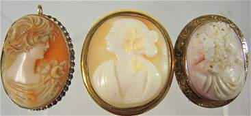 Lot of Three Victorian Gold  Gold Filled Cameos