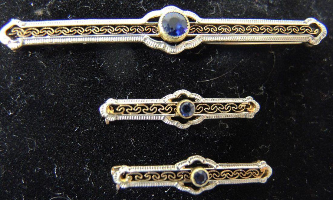 Art Deco Gold Filigree Bar Pin With Sapphire Mounts