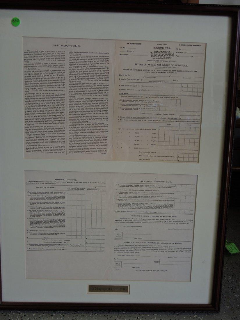 Rare Original 1913 Inaugural 1040 Income Tax Form