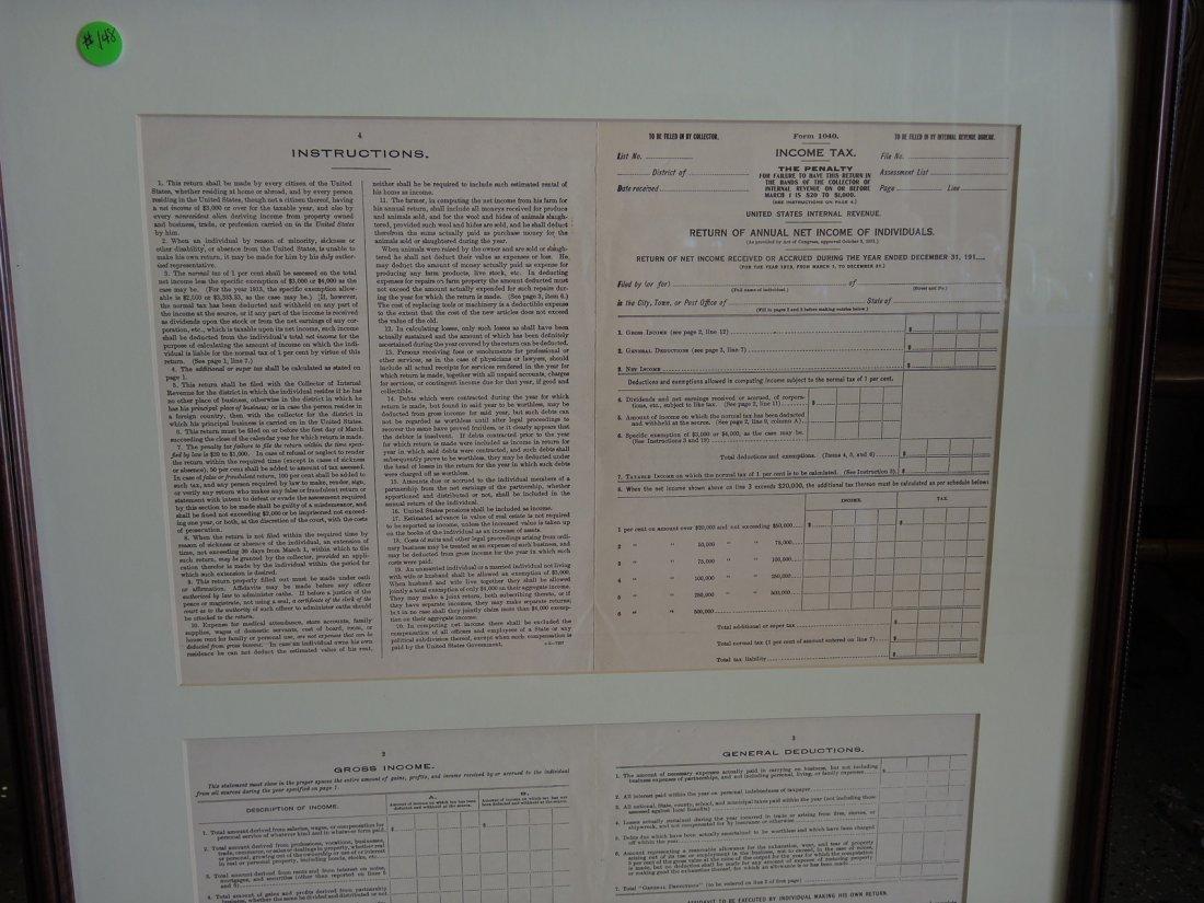 Rare Original 1913 Inaugural 1040 Income Tax Form - 2
