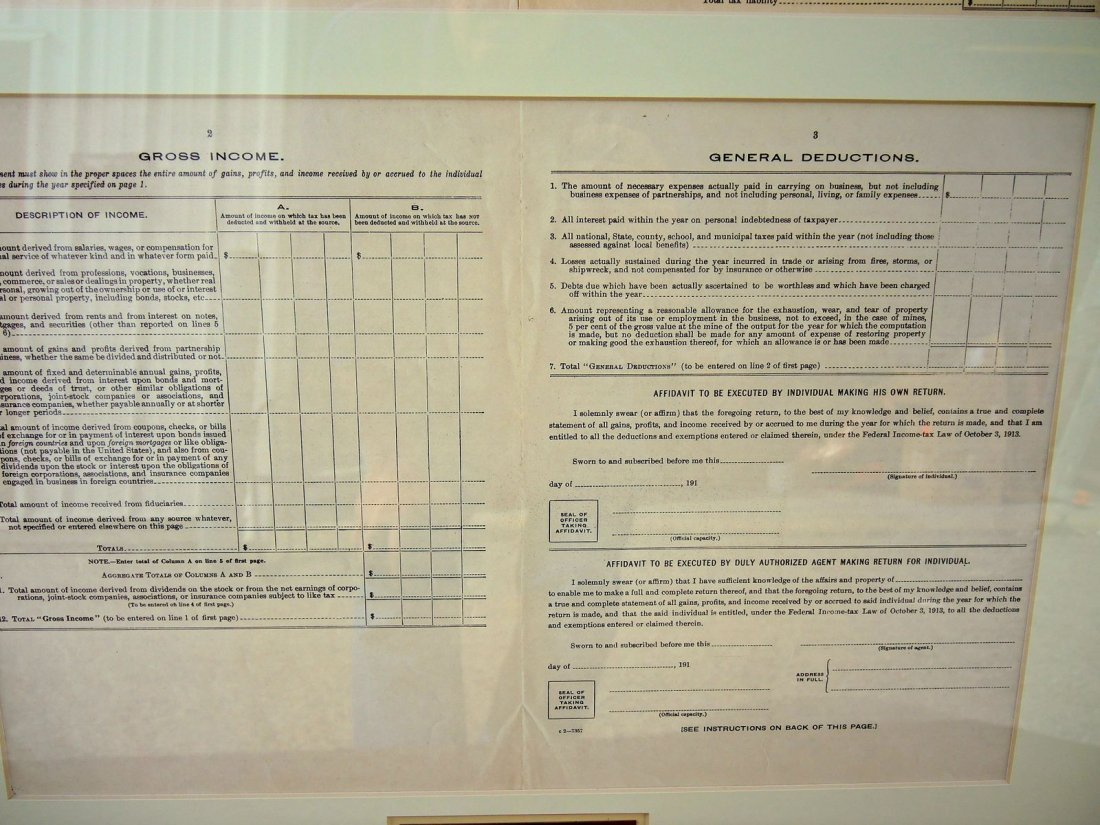 Rare Original 1913 Inaugural 1040 Income Tax Form - 3