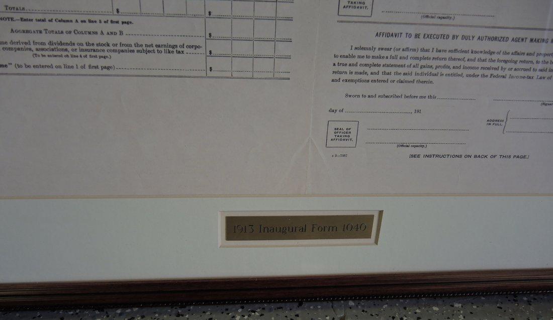 Rare Original 1913 Inaugural 1040 Income Tax Form - 4