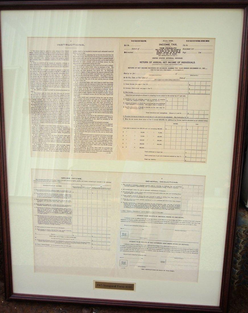 Rare Original 1913 Inaugural 1040 Income Tax Form - 6