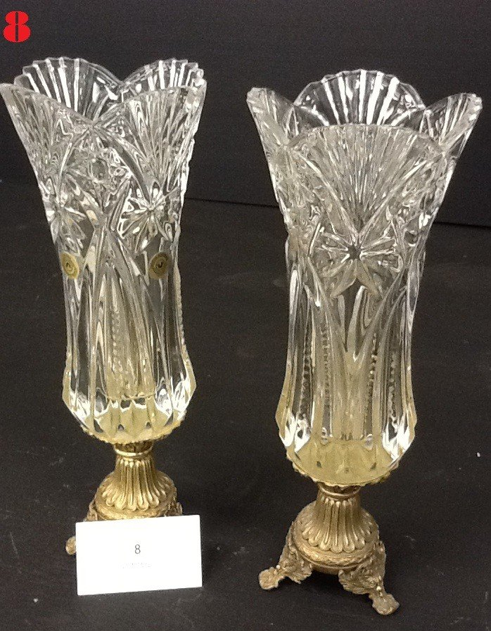 8: Crystal Vases With Metal Stand PAIR