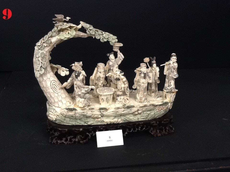 9: Carved Bone Asian Ship