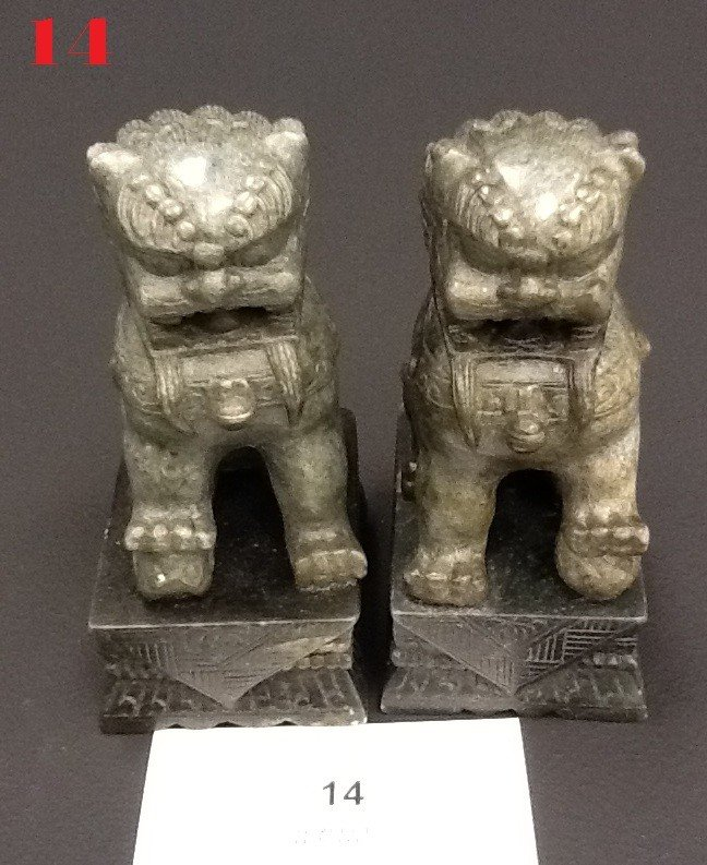 14: Stone Carved Fu Dogs PAIR