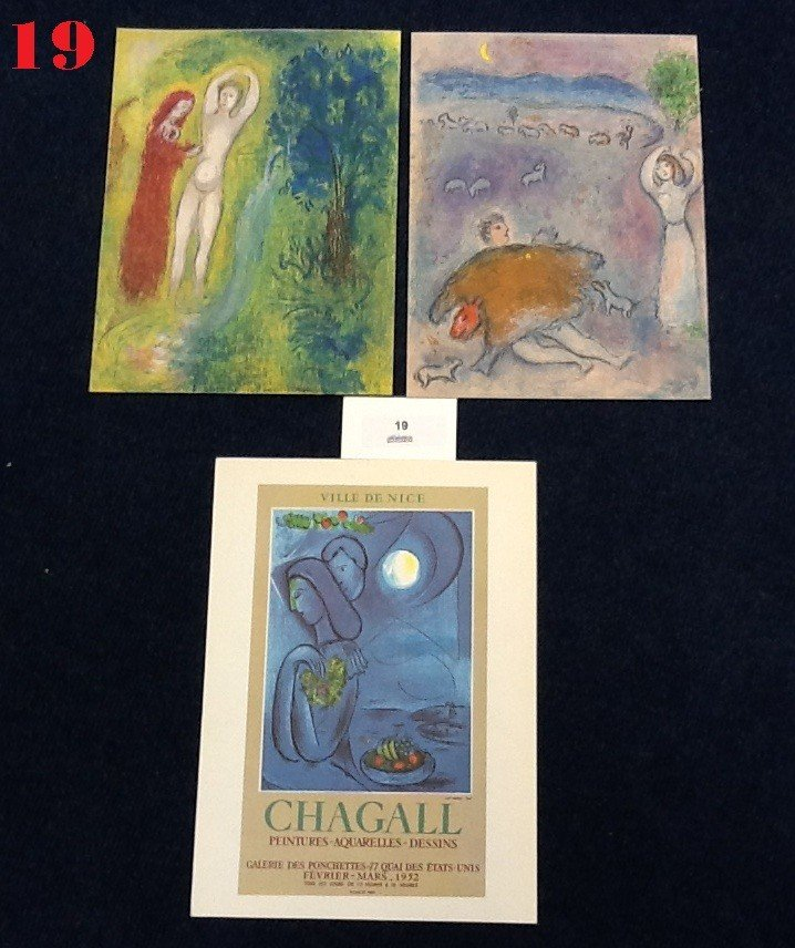 19: 2 Marc Chagall Lithographs and 1 Poster